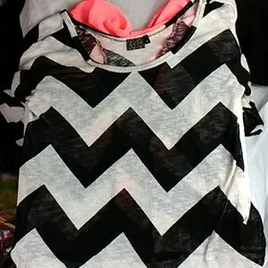 Mcm black white and pink shirt